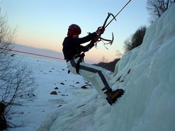 Ice-climbing in the Dark